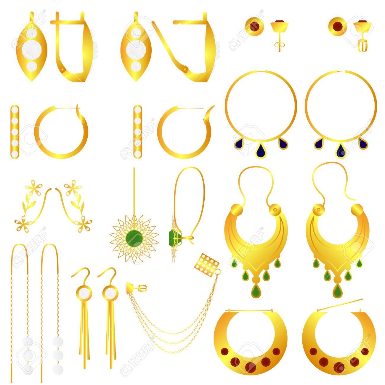 Earring Clasp Types Golden Earrings Vector Set Royalty Free ...