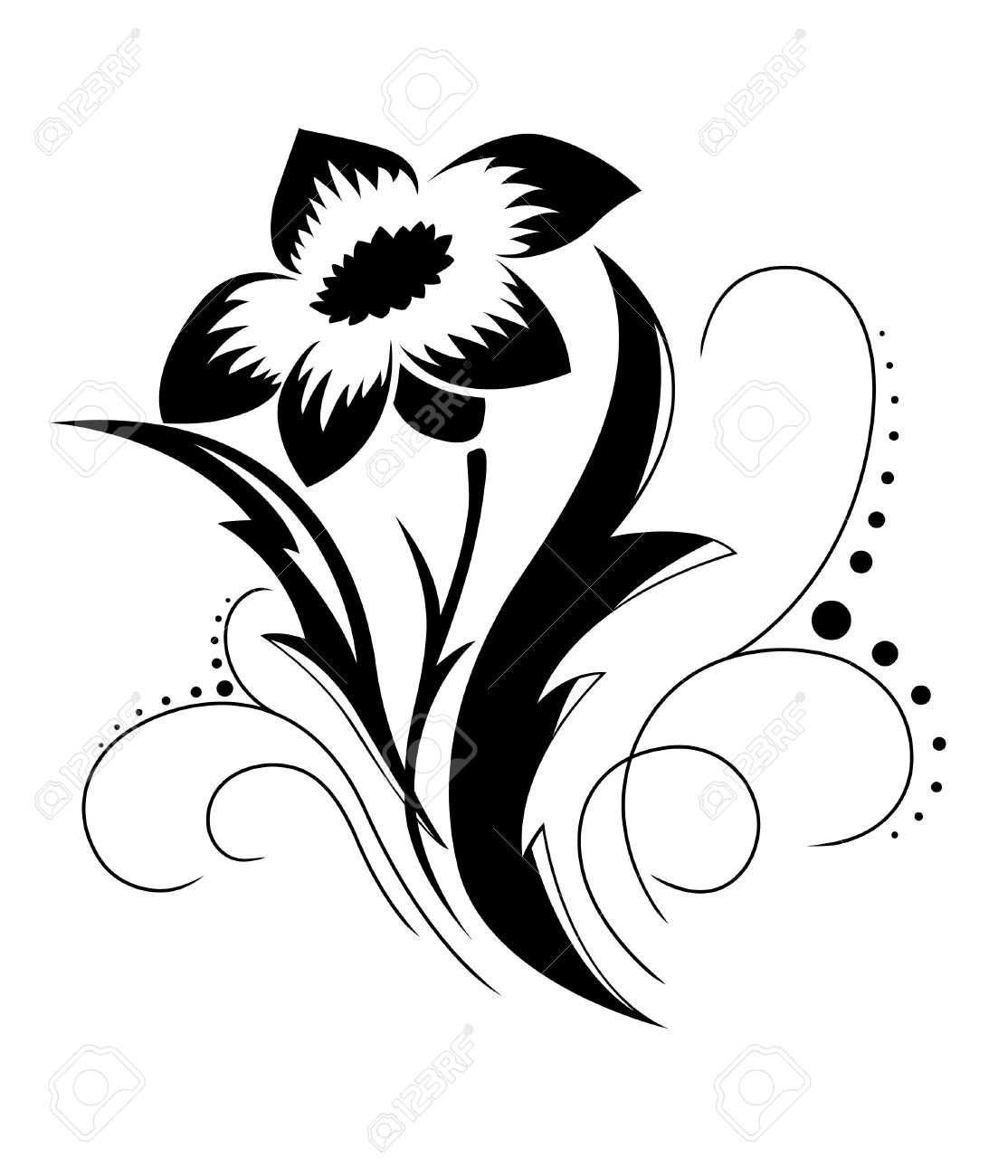 Black A White Flower Pattern Royalty Free Cliparts Vectors And