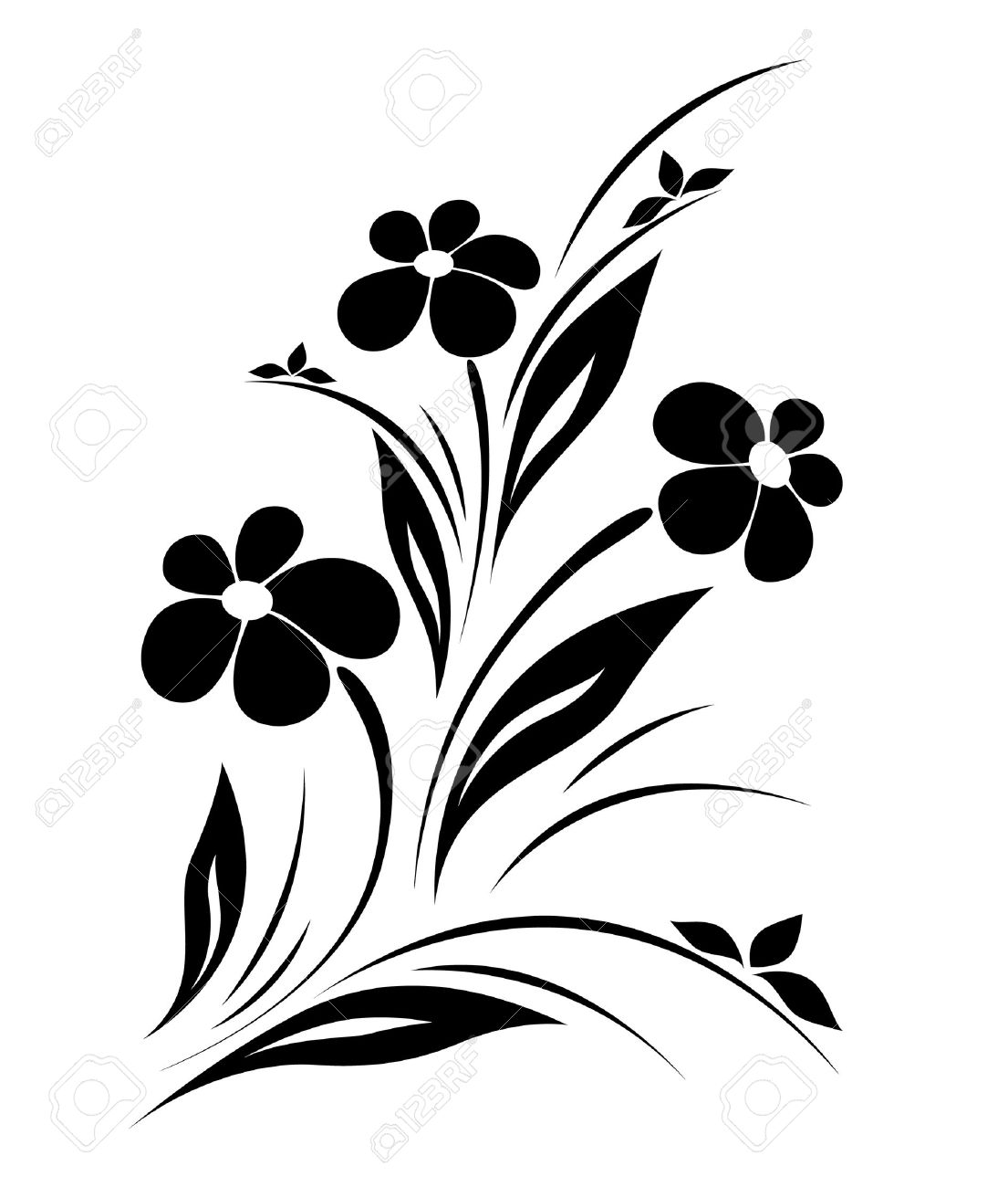 vector flower pattern on white background royalty free cliparts rh 123rf com vector flower pattern black and white vector flower pattern black and white