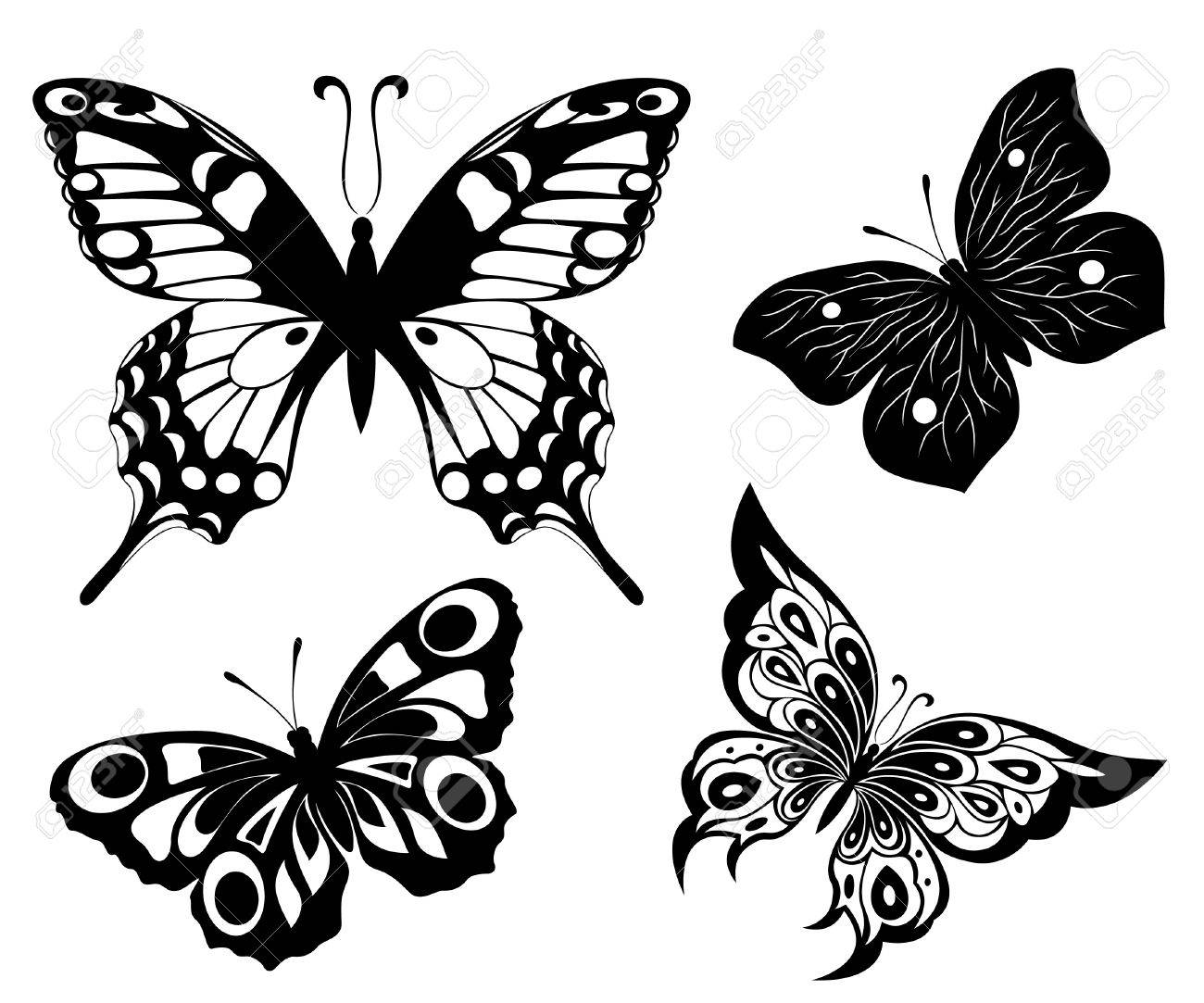 Black a white set of butterflies of tattoos Stock Vector - 8245231