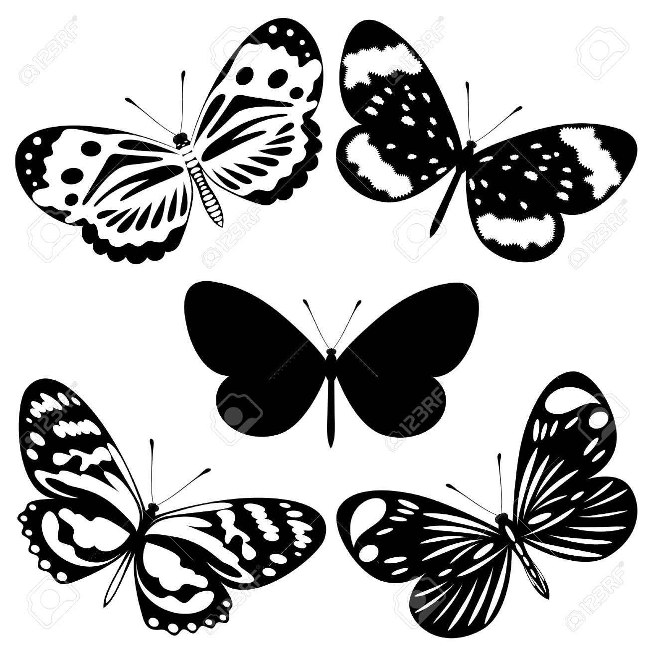 set black white butterflies of a tattoo royalty free cliparts