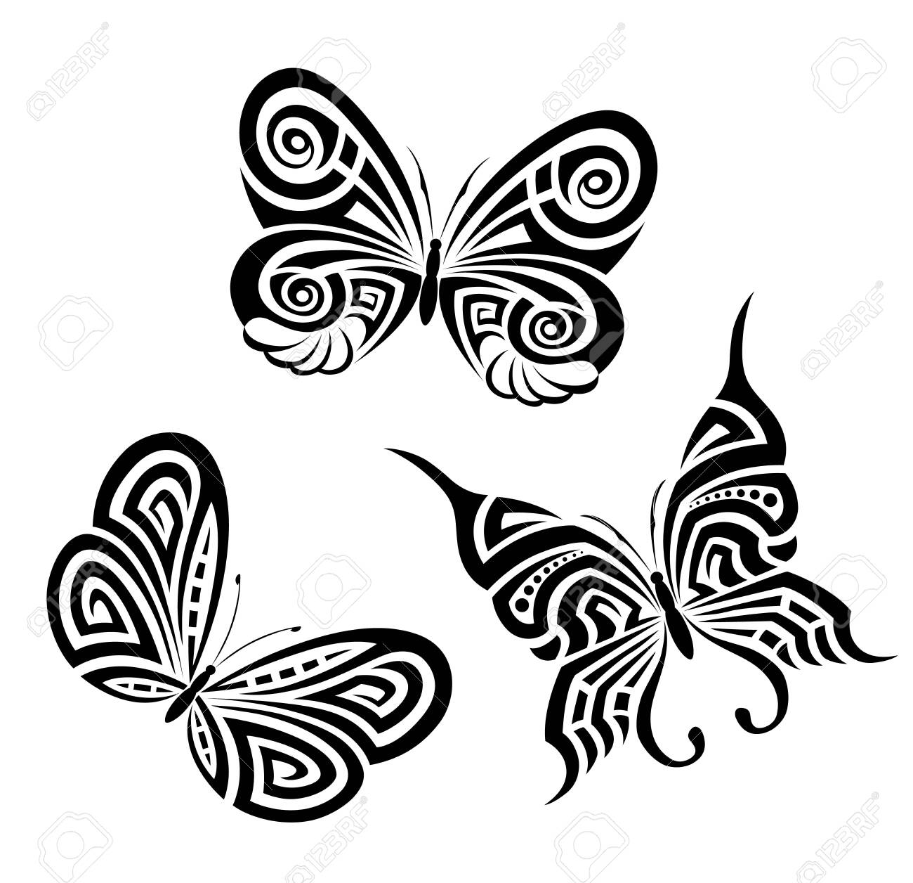 Vector background with the image set of black and white butterflies in the form of a tribal tattoo - 140632057