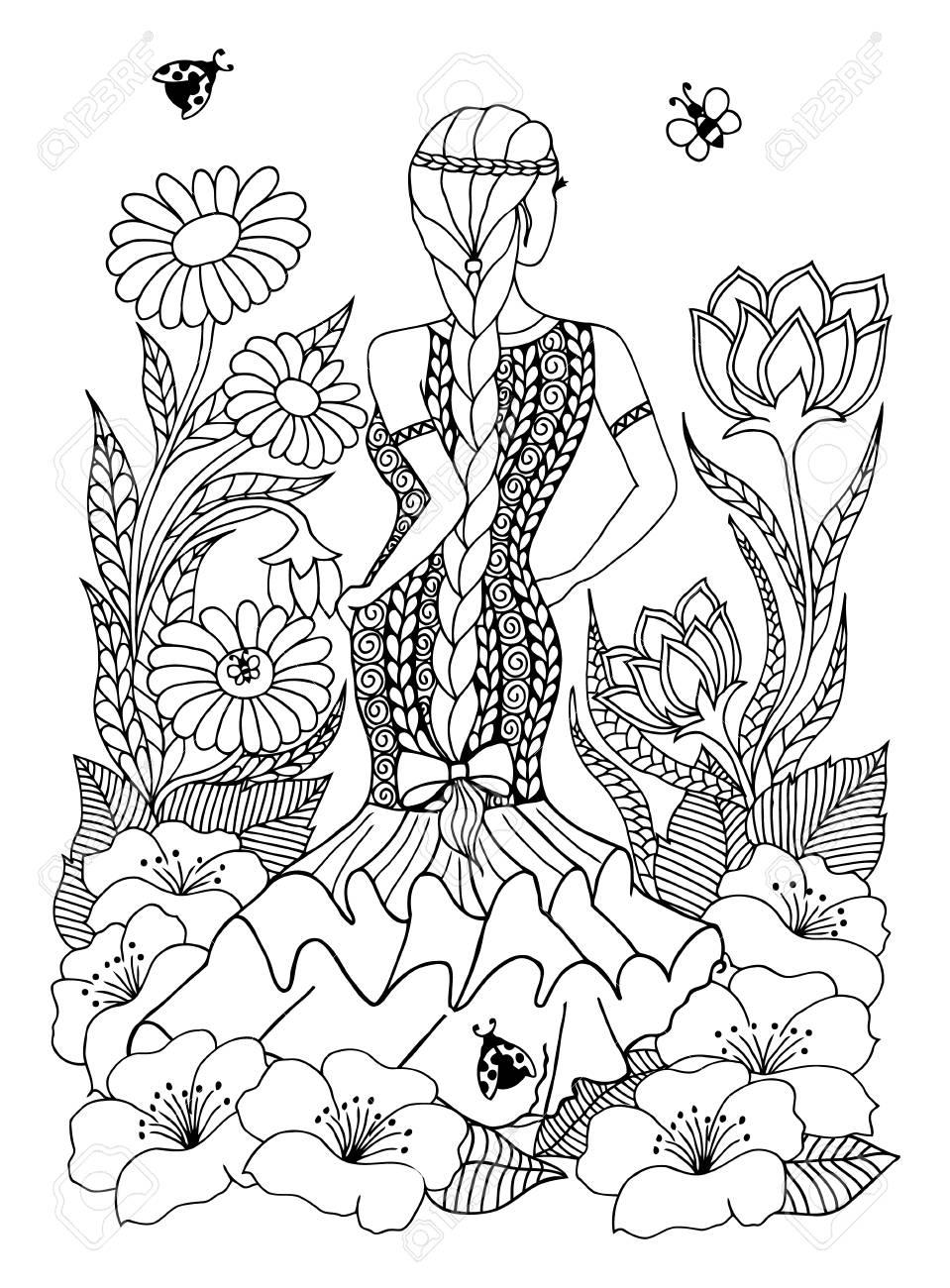 Illustration Femme Espagnole Fille Debout Dans Les Fleurs Dessin