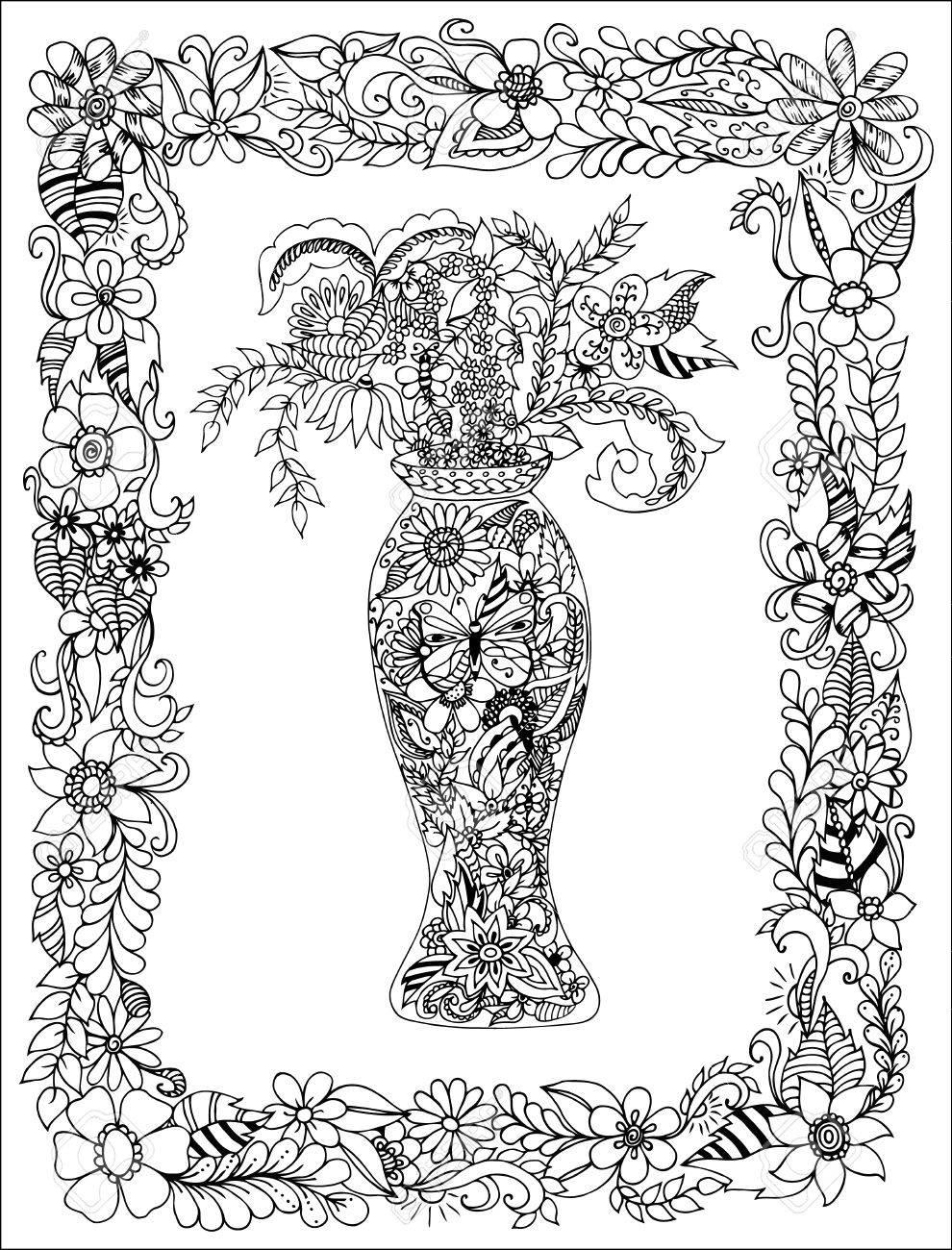 Coloriage Cadre Fleur.Illustration Vase De Fleurs Dans Un Cadre Livres A Colorier Pour