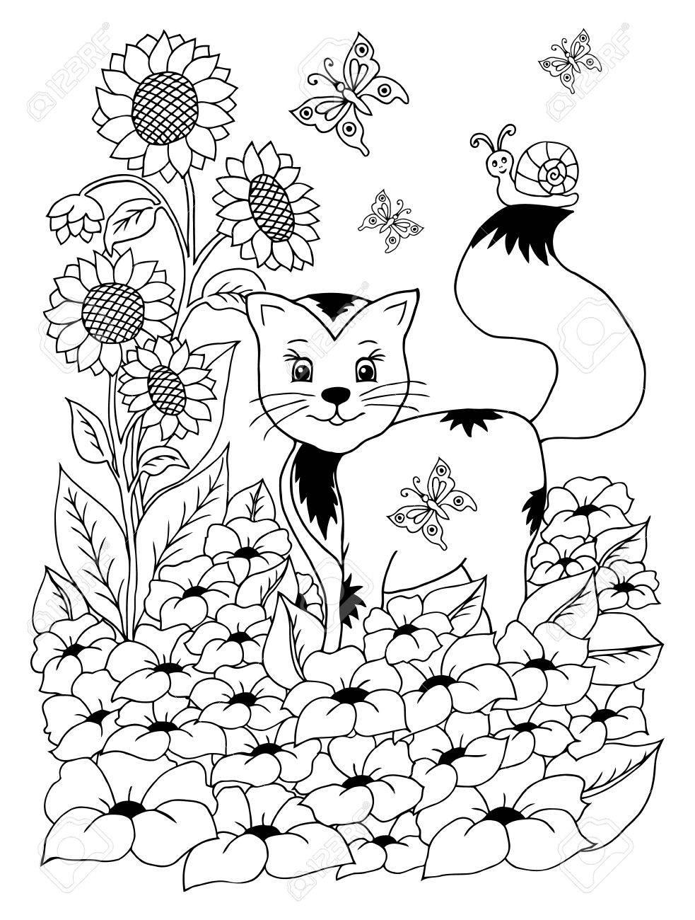 花から空き地図子猫落書きを描画します瞑想的なエクササイズアンチ