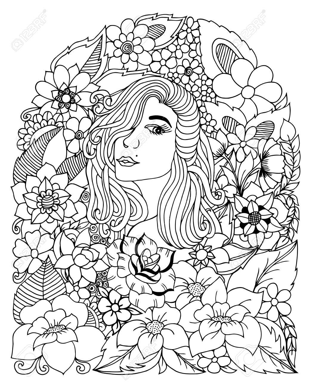 Ilustración Retrato De Una Niña Entre Las Flores. Libro De Colorear ...