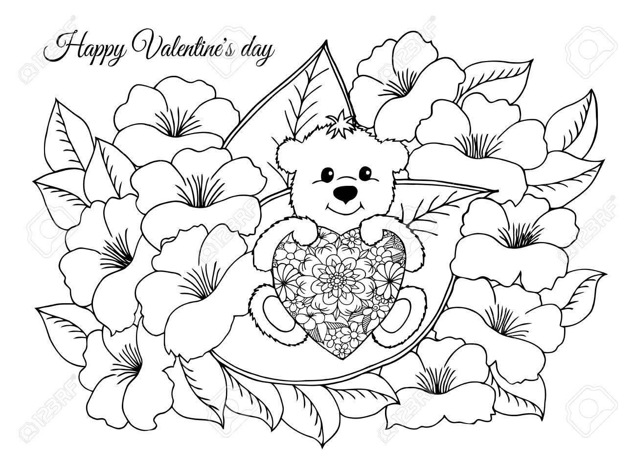 Ilustración, San Valentín, Enamorados De Un Oso De Peluche Con Un ...