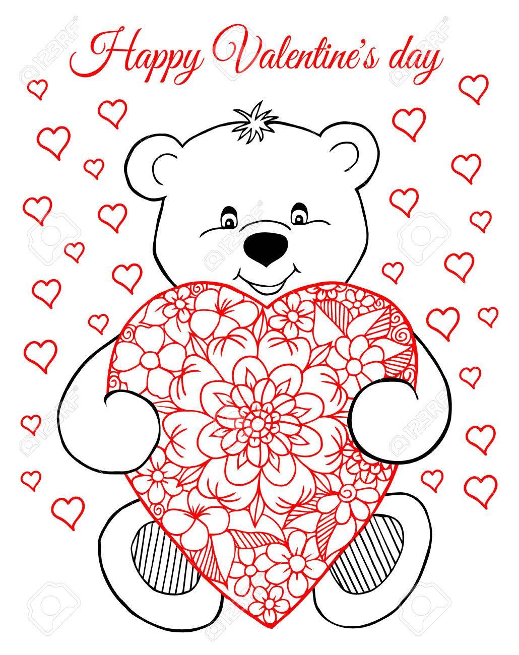 Ilustración, Tarjeta De Felicitación, San Valentín, Un Oso De ...
