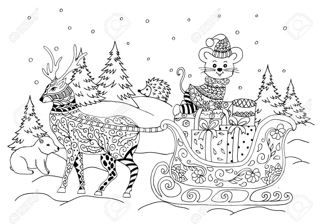 Illustration Nouvelle Année Traîneaux Avec La Souris Dans Une Forêt