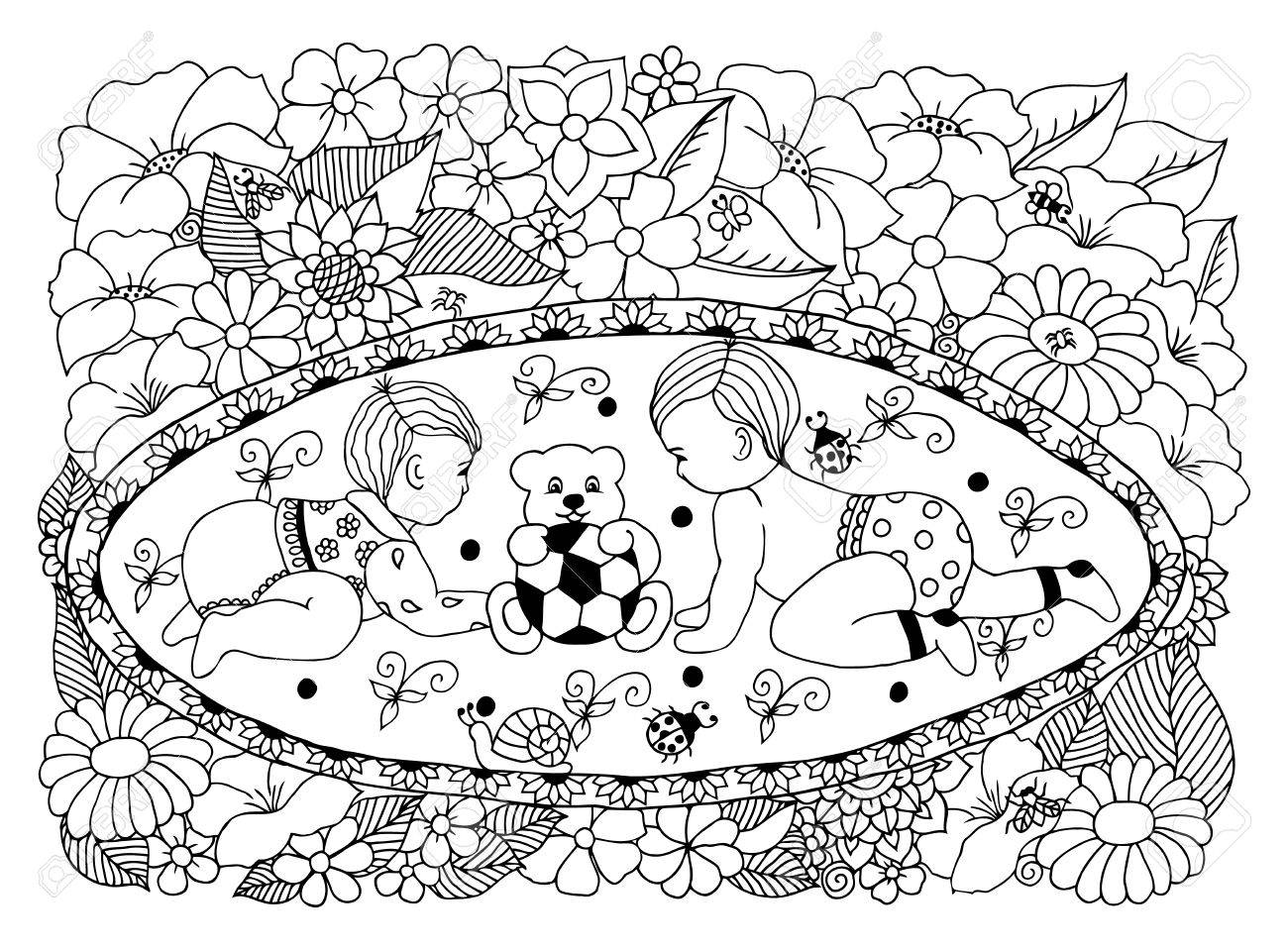 Illustration Children Playing On A Carpet Among The Flowers ...