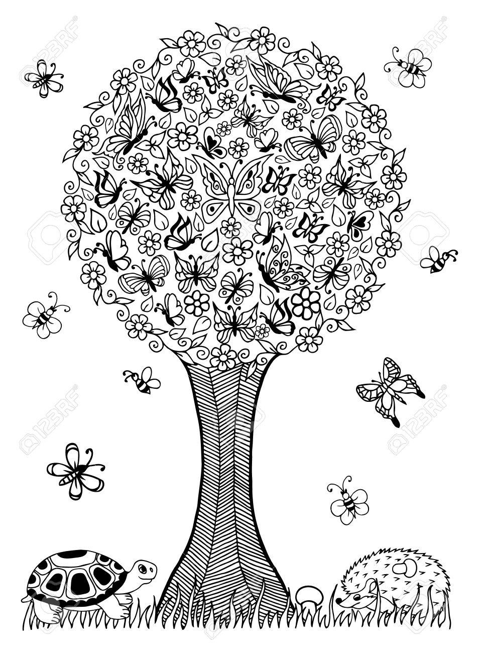 Coloriage Arbre Anti Stress.Illustration Tortue Et Le Herisson Sous Un Arbre De Papillons