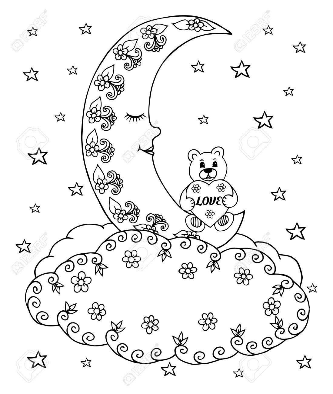 Ilustración De Un Oso De Peluche Con Un Corazón En La Luna Entre Las ...