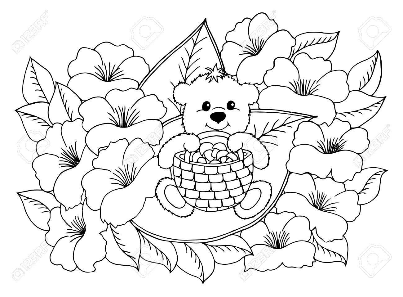 Illustration Ein Teddybär Mit Einem Korb Voller Pilze Unter Den ...