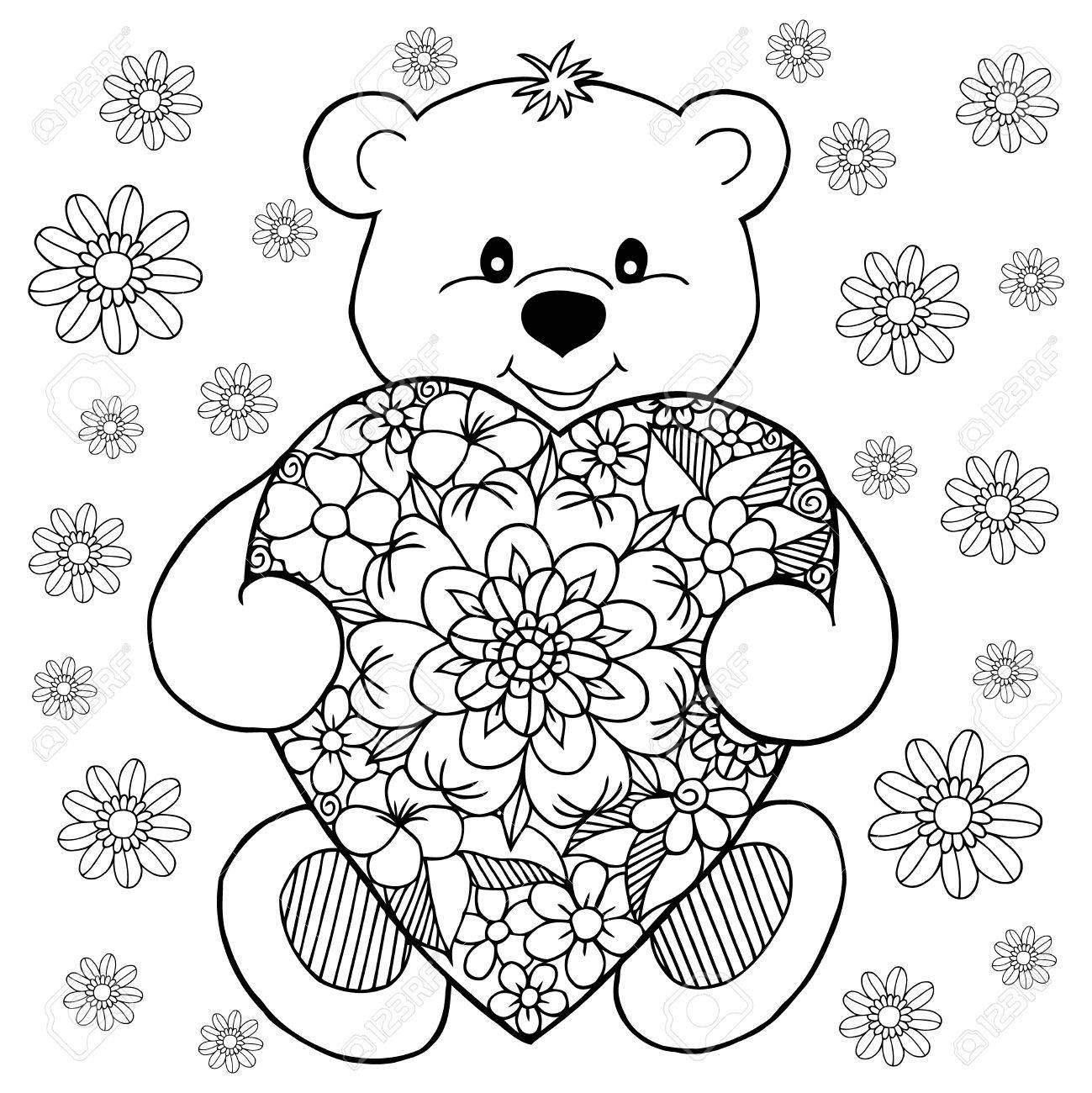 Illustration Einen Teddybären Verliebt Mit Dem Herzen Unter Den ...