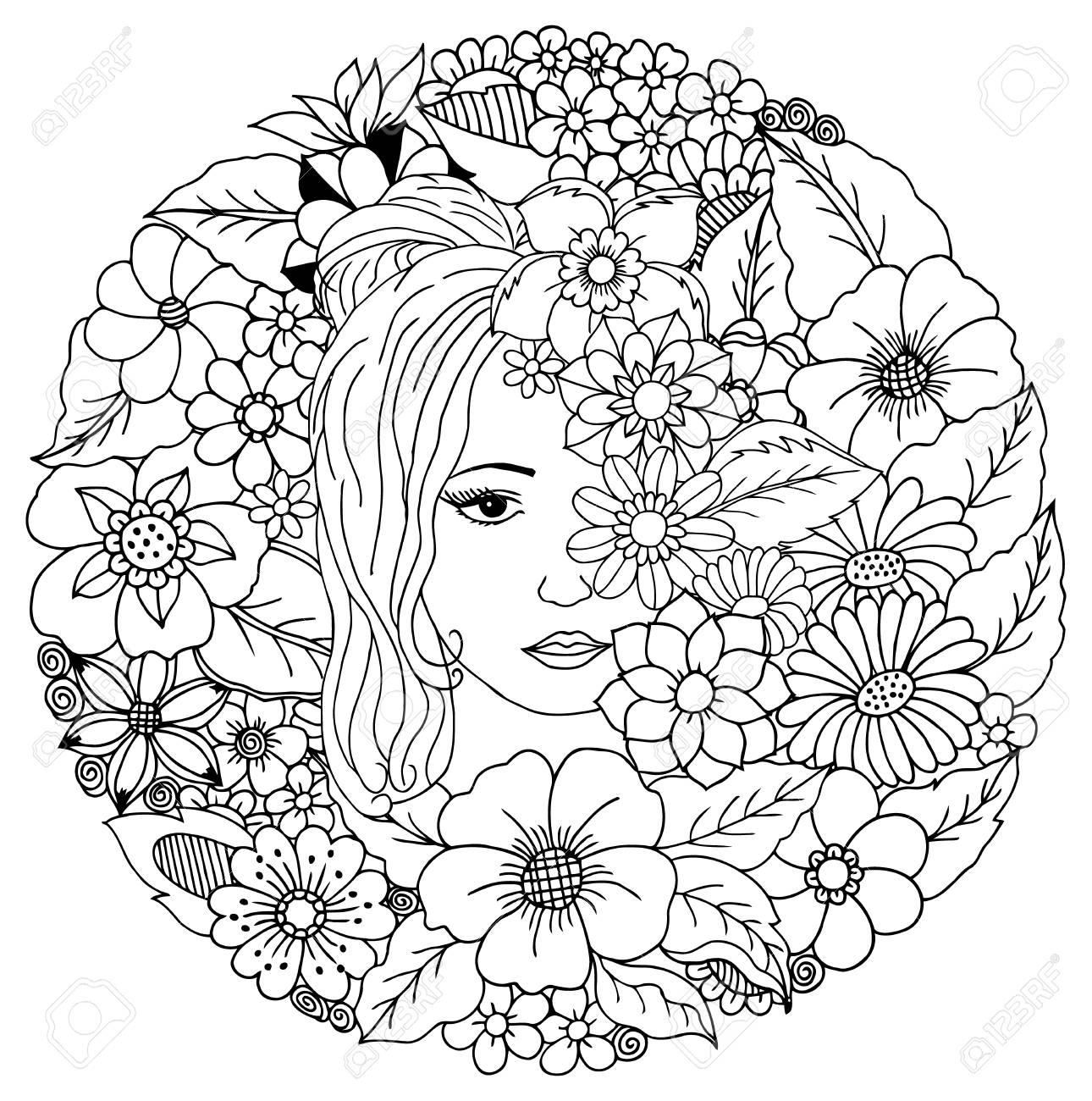Illustration Girl Among The Flowers Coloring Book Anti Stress