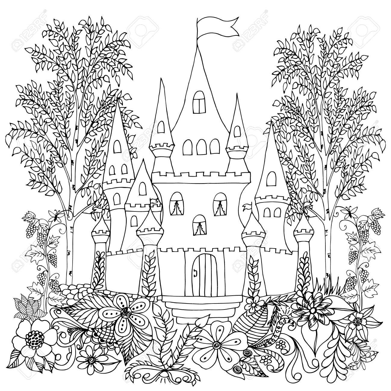 - Zentangl Castle In The Woods With A Vineyard. Coloring Book