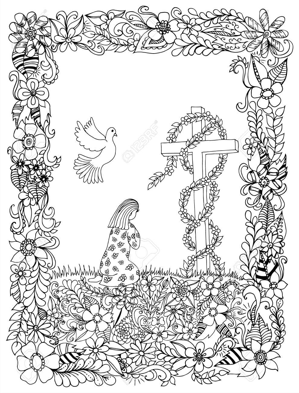Zentangle Niña Arrodillada En Un Marco De Flores. Libro Para ...