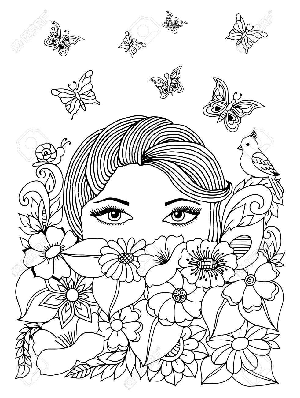 Niña Peeps Desde Debajo De Las Flores. Libro Para Colorear Anti ...