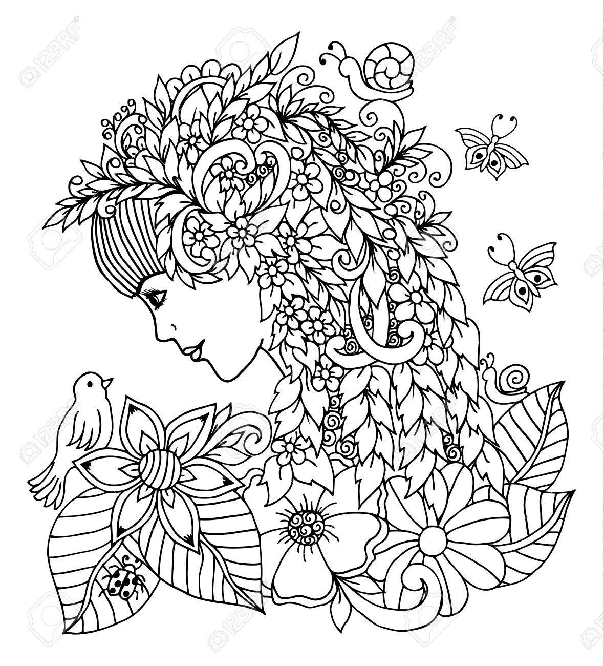 Ilustración Vectorial Niña Primavera Mira Un Pájaro Rodeado De