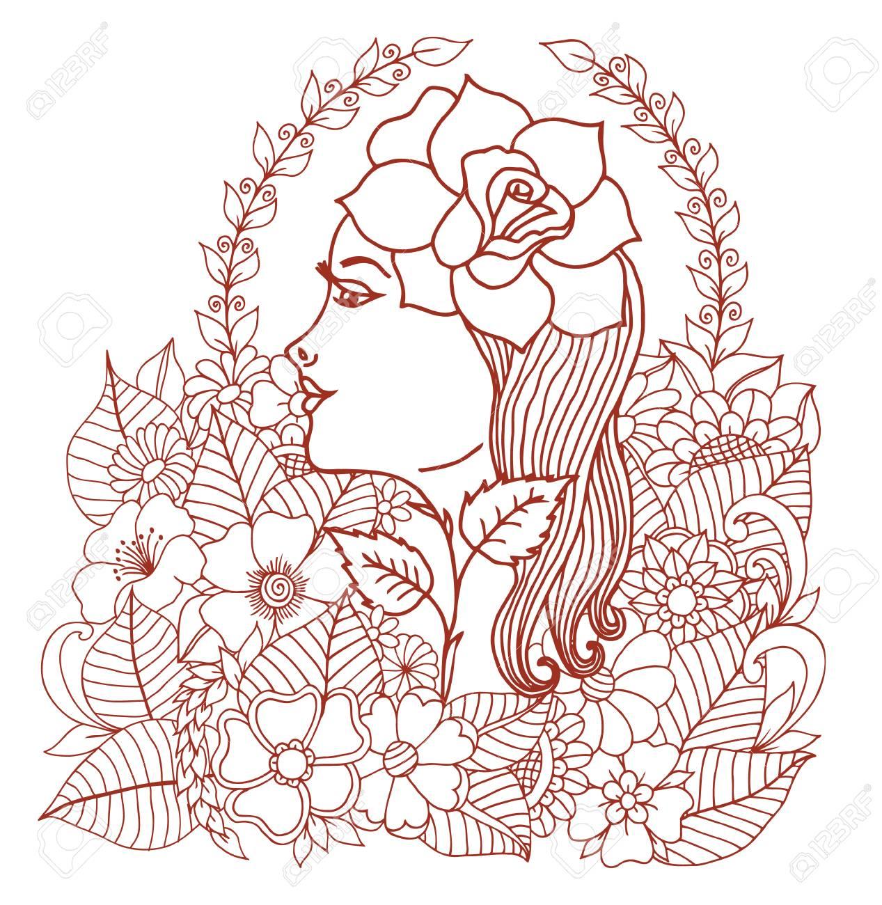 バラの花に囲まれてのベクトル イラスト女の子手作業での仕事大人と