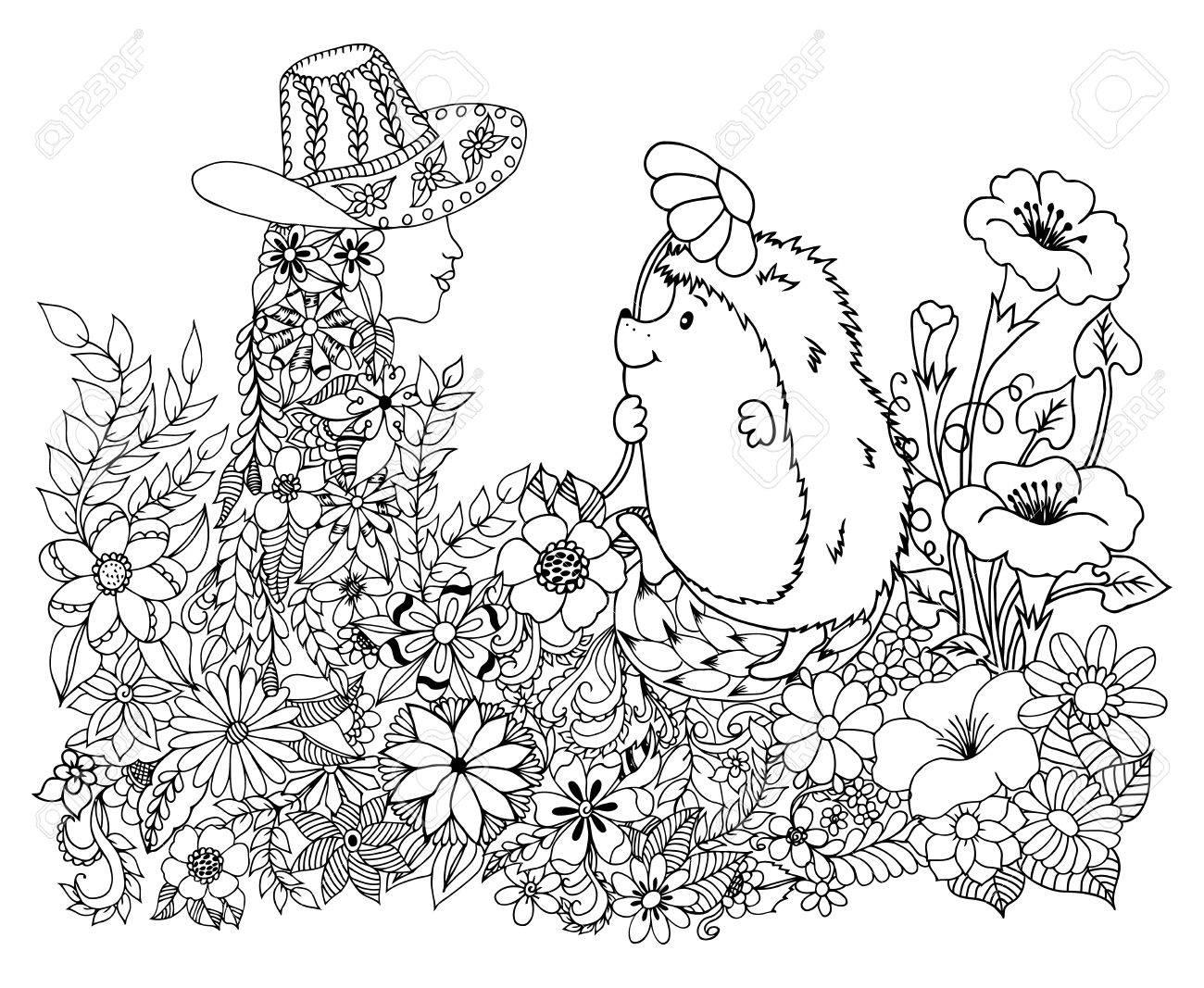 Ilustración De Arte Vectorial Erizo Entre Las Flores Da Una Chica ...