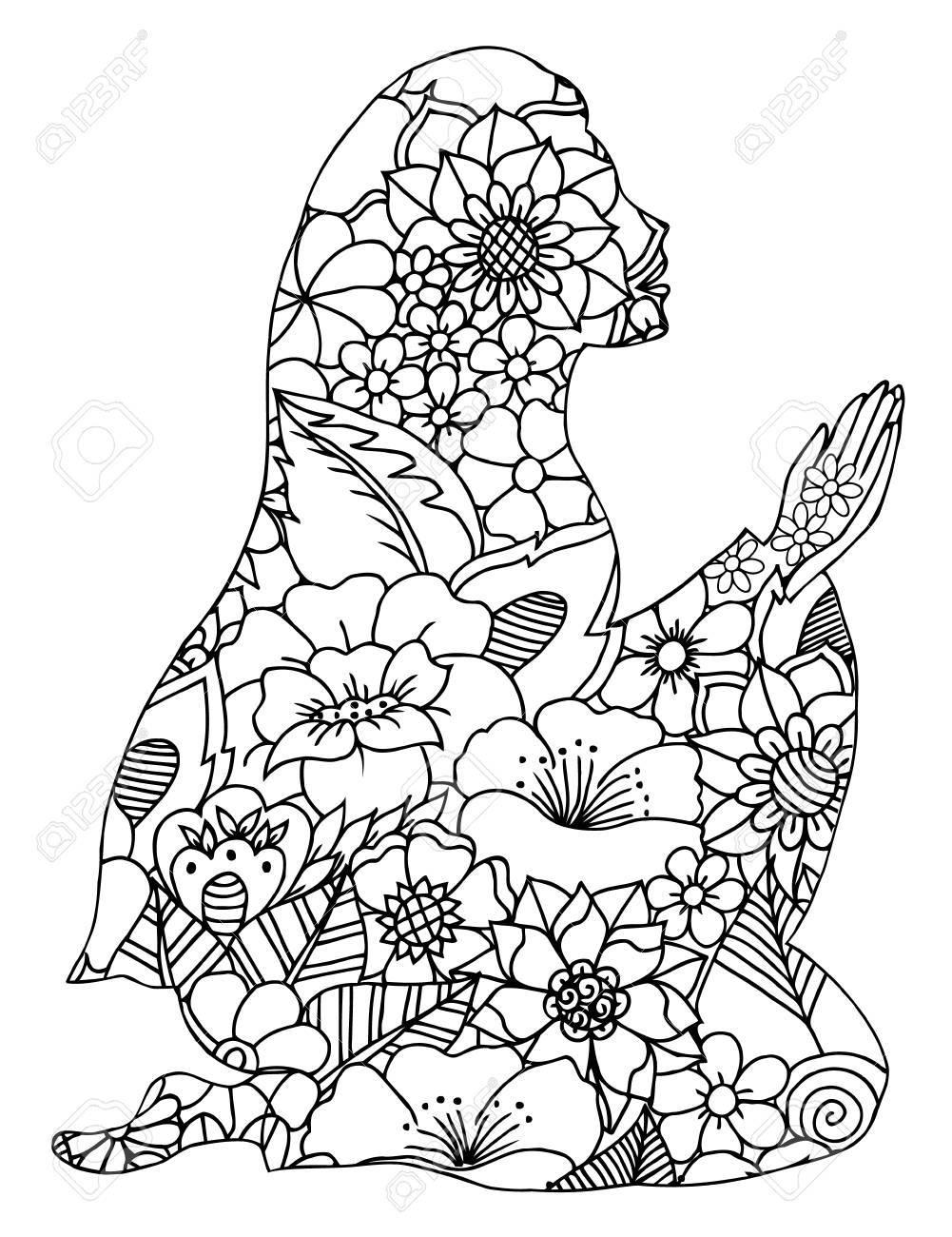 Vector Ilustración Zentangl, Silueta De Una Mujer En El Regazo De