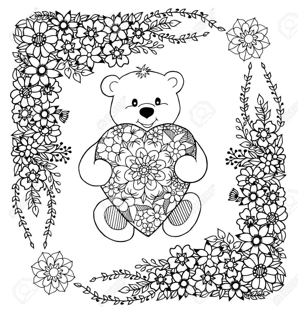 Vektor-Illustration Eines Teddybären Hält Herz Aus Blumen Im Rahmen ...