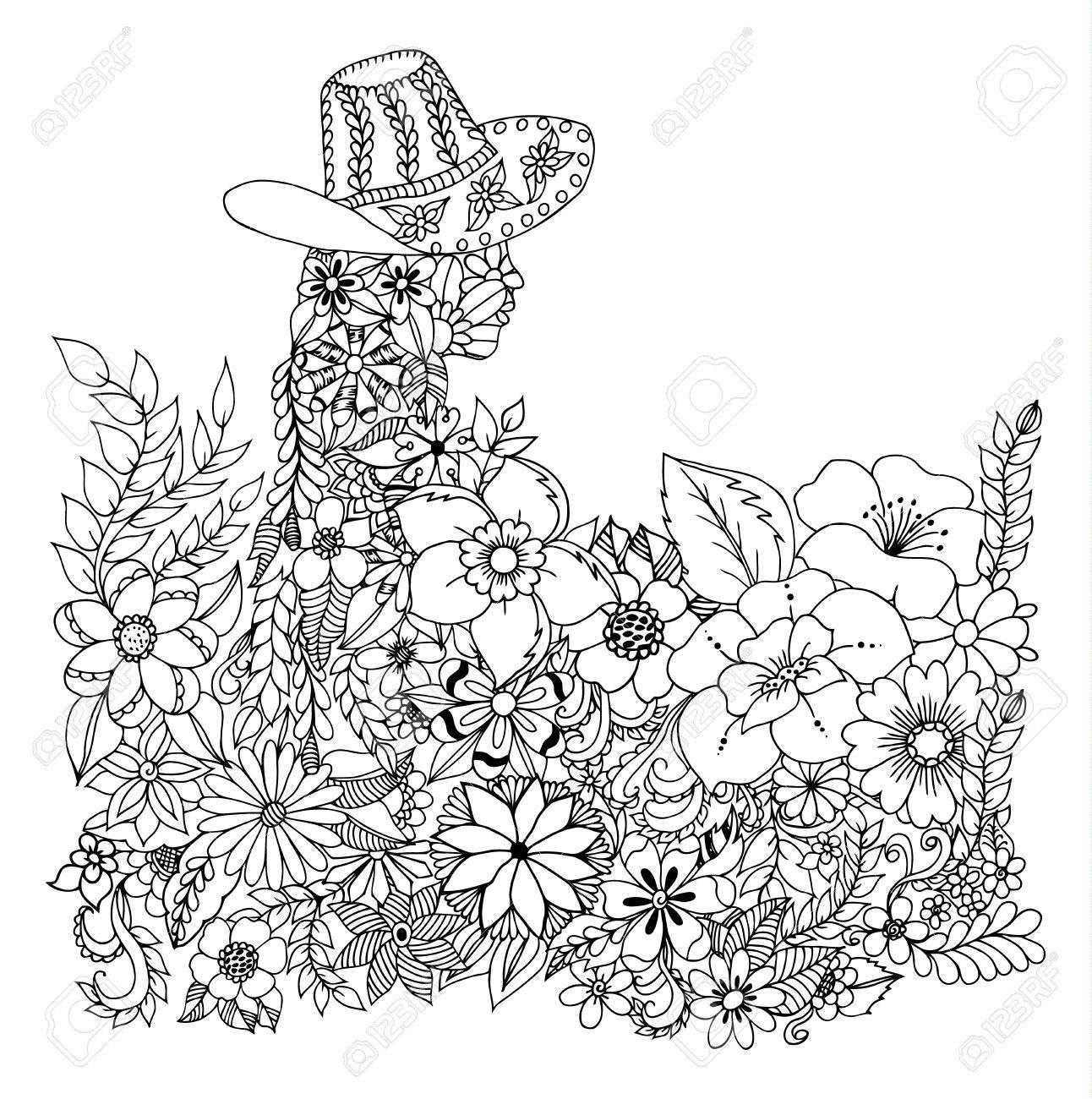 Ilustración Vectorial Zentangl Silueta De Una Niña Con Sombrero De Flores Libro Para Colorear Anti Estrés Para Adultos En Blanco Y Negro