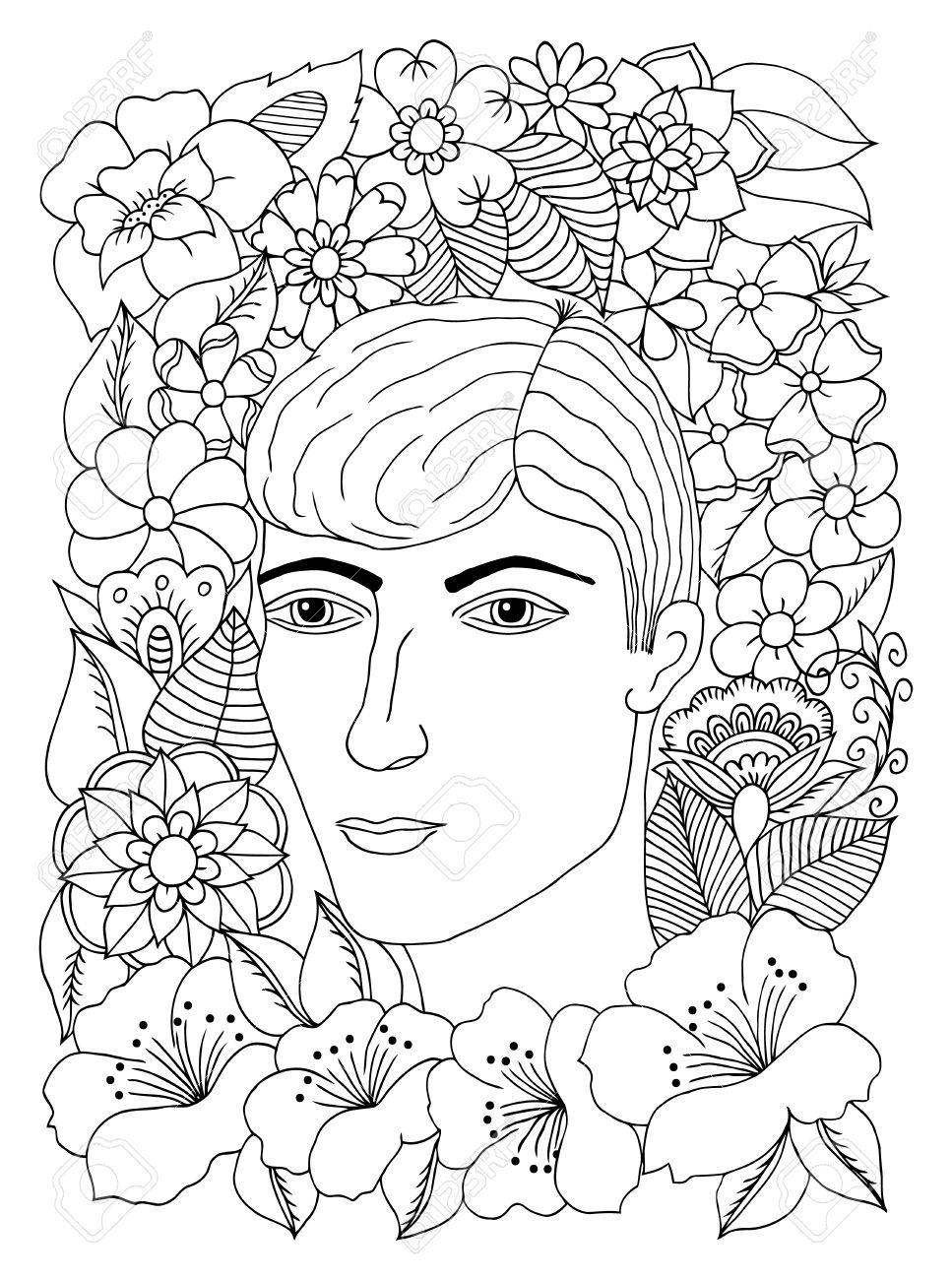 Ilustración Vectorial Zentangl, Retrato De Hombre Joven En Flores ...