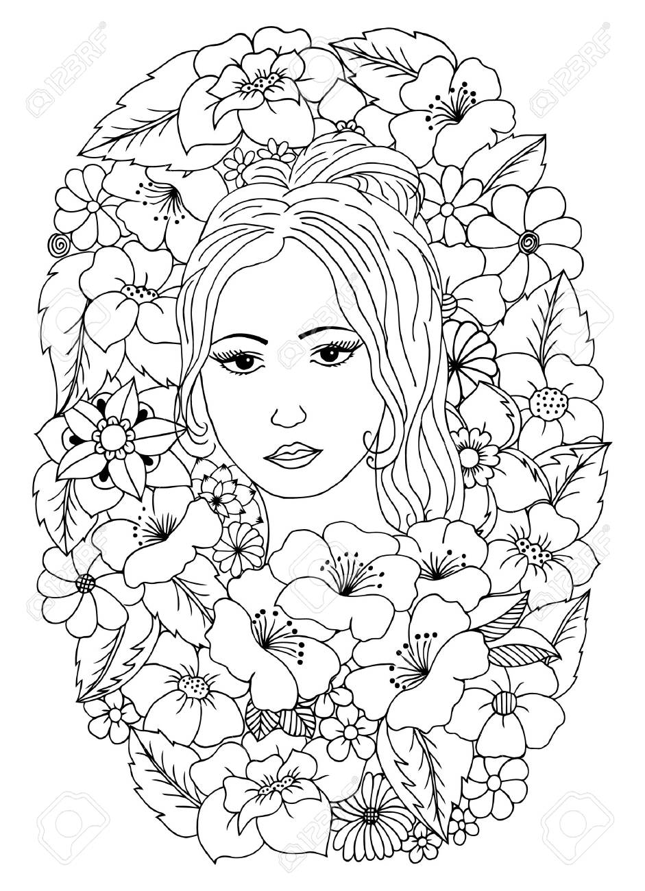 Ilustración Del Vector, Retrato De Una Dama Entre Las Flores. Libro ...