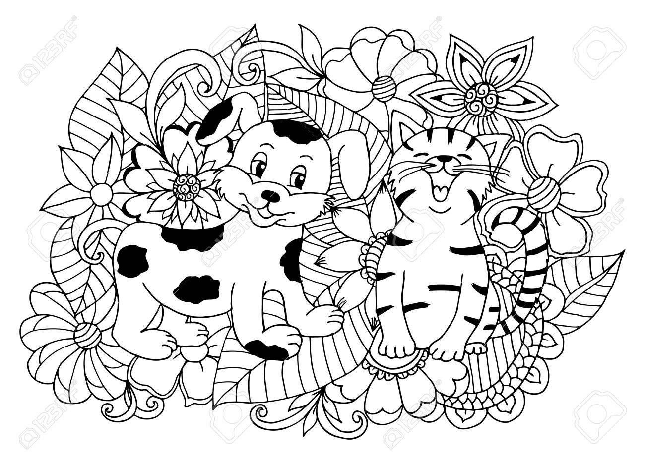 Joyeux Chiot Et Un Chaton Entouré De Fleurs Travail Effectué à La Main Coloriage Du Livre Anti Stress Pour Les Adultes Et Les Enfants Noir Et