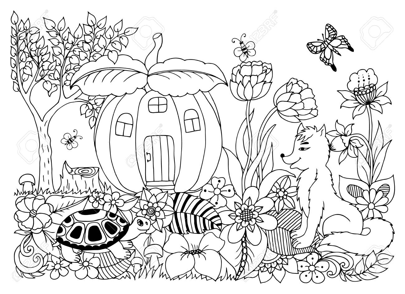 Fox Turtle In Pumpkin House In Flowers. Coloring Book Anti Stress ...