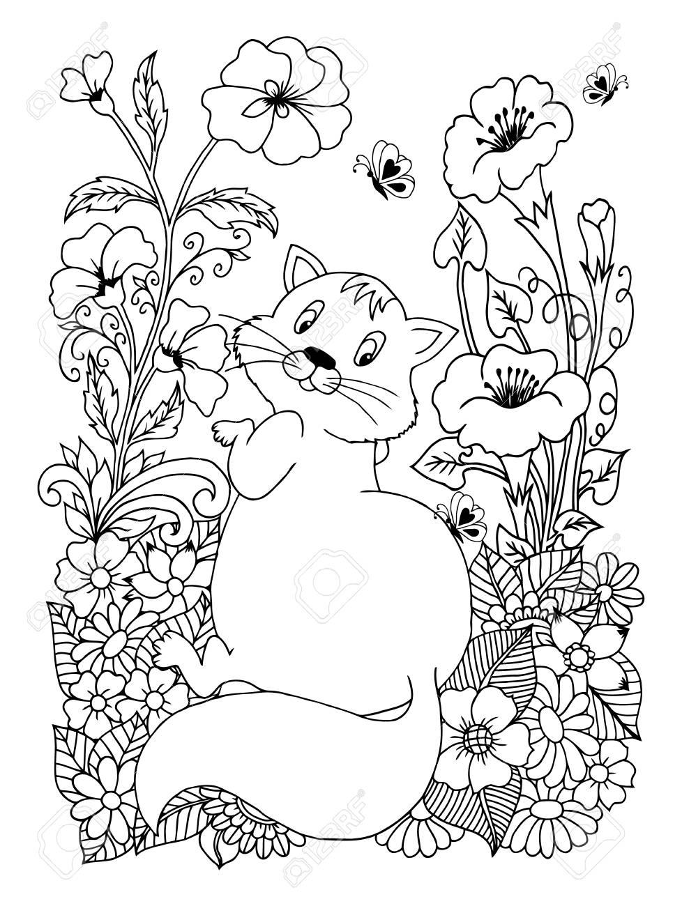 Illustrazione Vettoriale Di Un Gatto Spesso E Peloso Circondato Da Fiori Il Lavoro è Fatto Manualmente Libri Da Colorare Antistress Per Adulti E