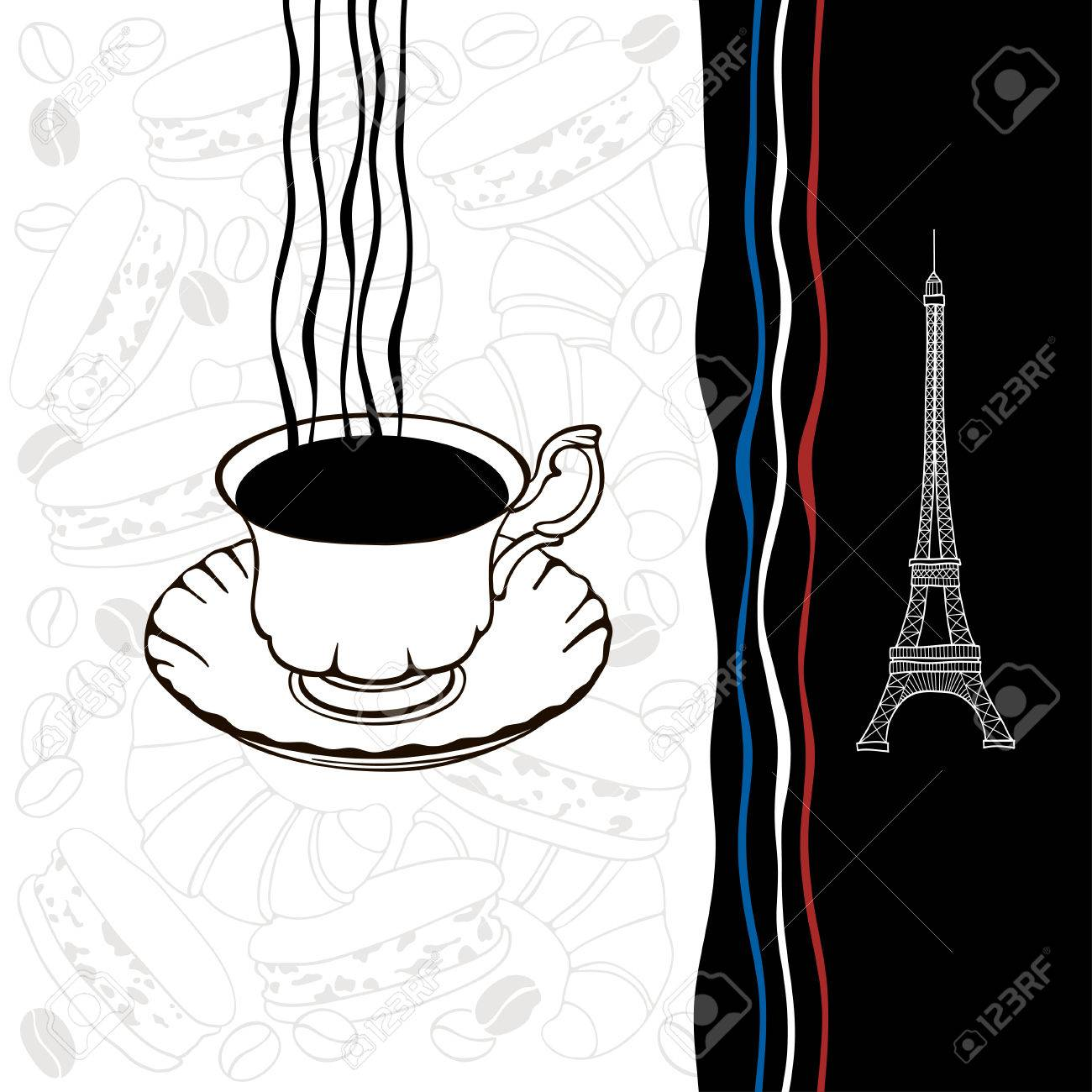 Decorative background with symbols of france traditional french decorative background with symbols of france traditional french breakfast the eiffel tower and flag stock biocorpaavc