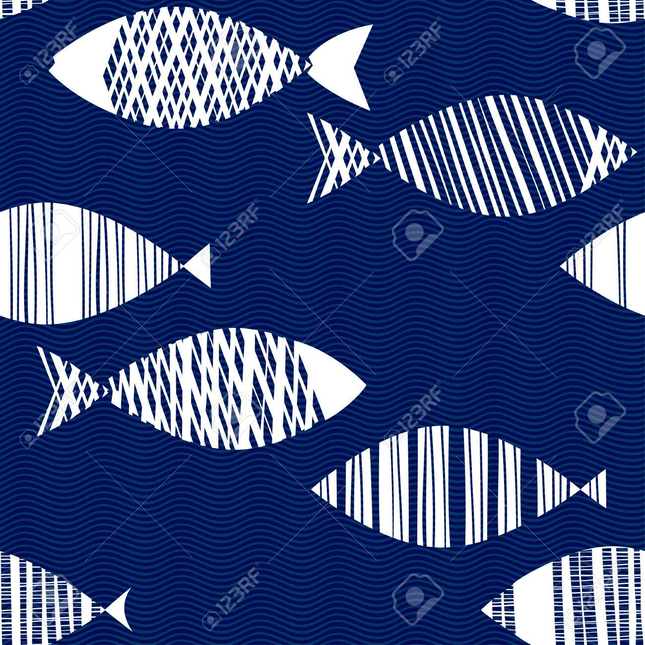 Seamless pattern with cartoon fishes. Hand drawn vector illustration on the texture background .. - 51565828