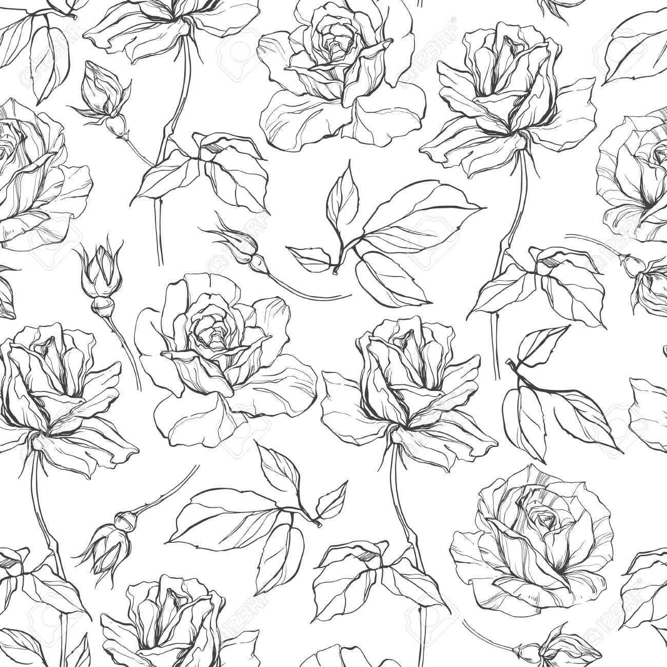 Seamless Vector Pattern With Roses Black And White Floral