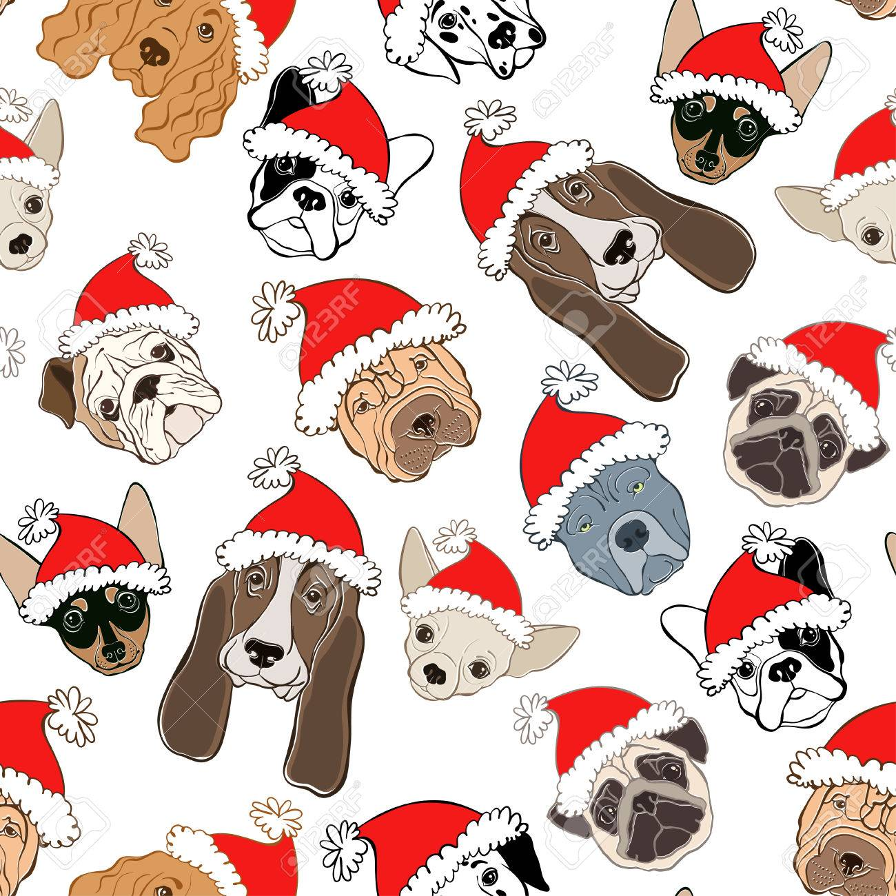 264aec545fb Dog - animal symbol of new year. A Seamless pattern with dog s face in  Santa s hat on a white background. Dog -