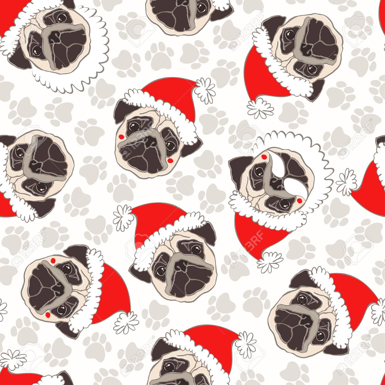 e6c5d4b84a6 Vector - Vector seamless pattern with pug-dog in Santa s hat and traces. Dog  - animal symbol of New Year.