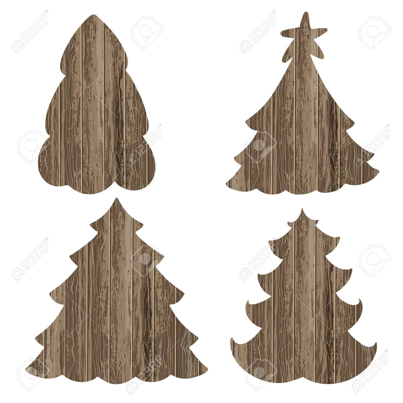 Wooden Christmas Trees Vector Set Isolated Elements On A White