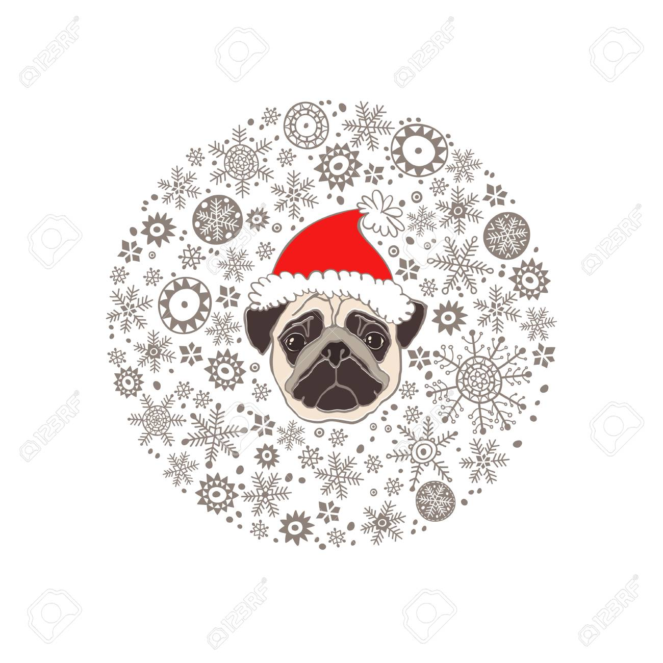 fd6c9e0b95d Pug in Santa s hat and snowflakes. Dog-animal symbol of new year 2018.