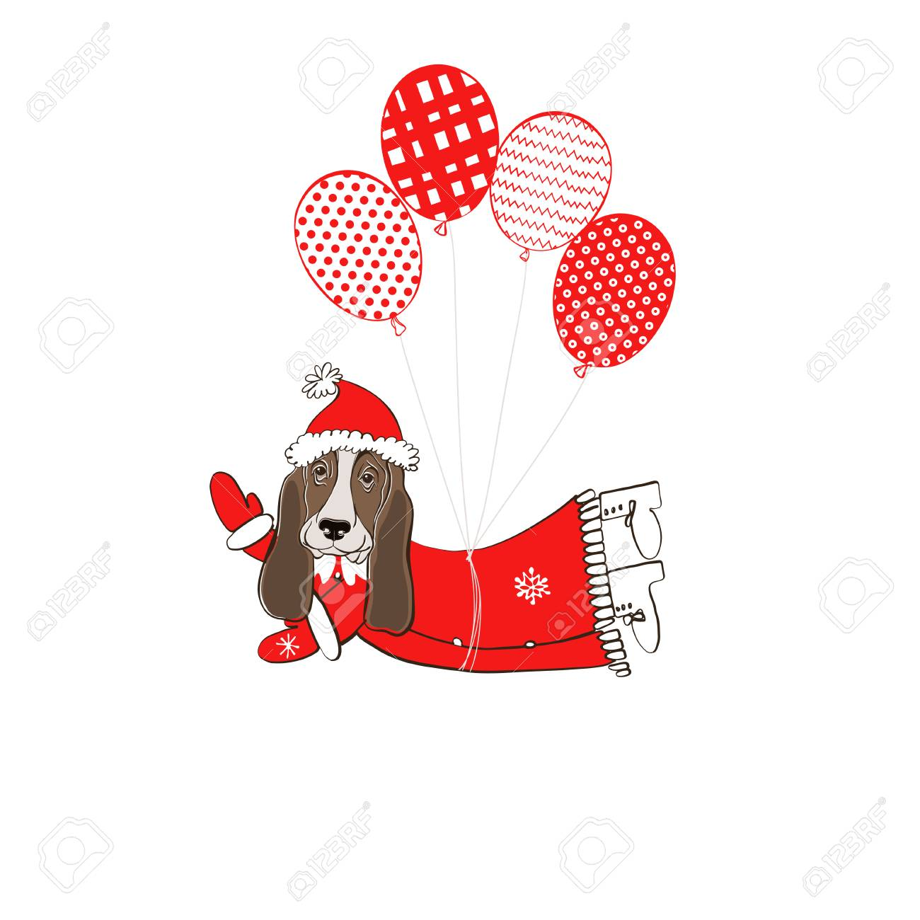 Basset Hound Dog In Santa Claus Costume Flying On Balloons Element ...