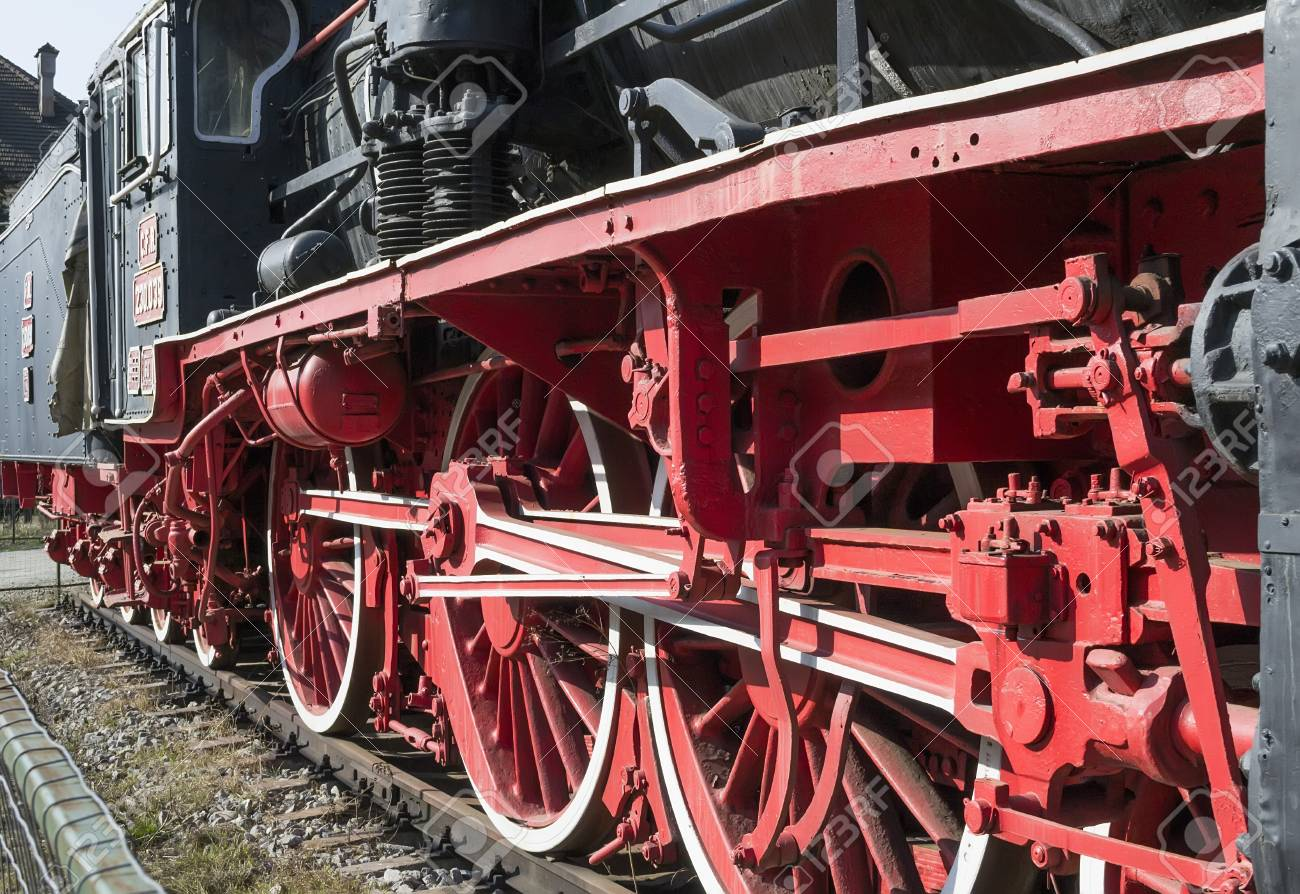 Close up of a vintage locomotive s traction system Stock Photo - 26601572
