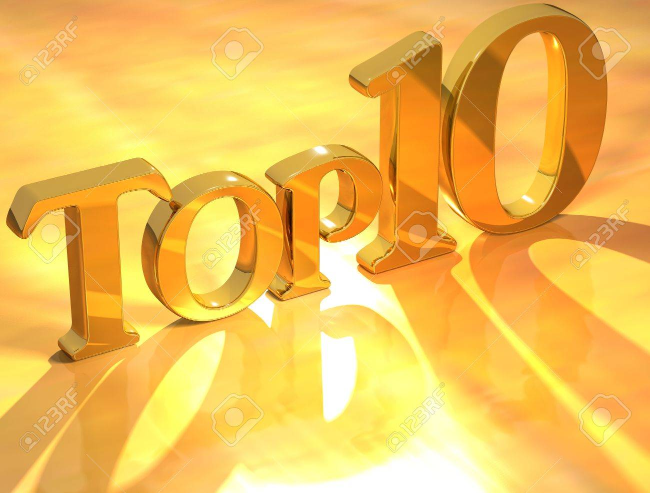 3D Top 10 Gold Text on yellow background Stock Photo - 8901479