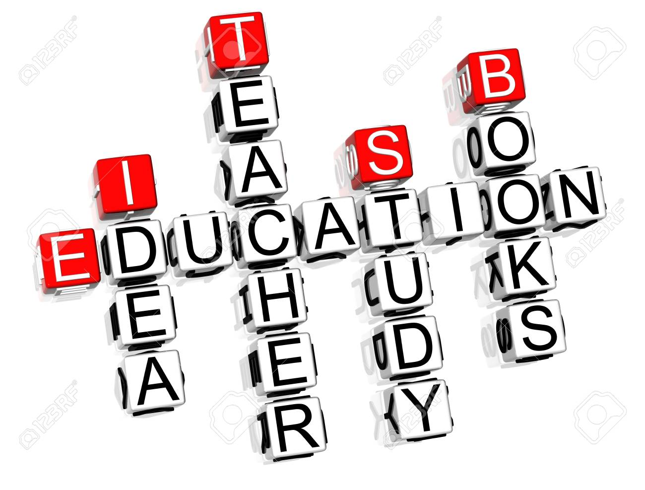 3D Education Crossword text on white background Stock Photo - 8901604
