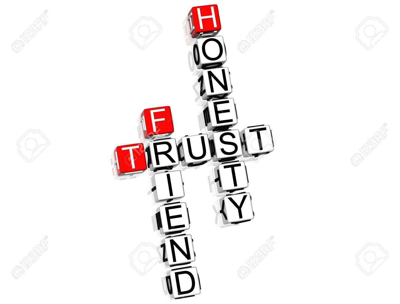 3D Trust Crossword text on white background Stock Photo - 8901538