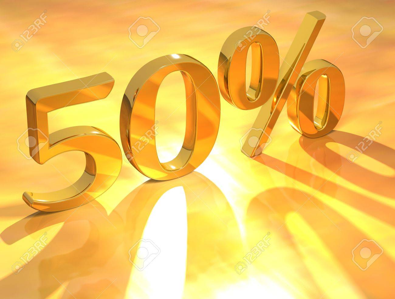 3D Percent text % on gold background Stock Photo - 8901702