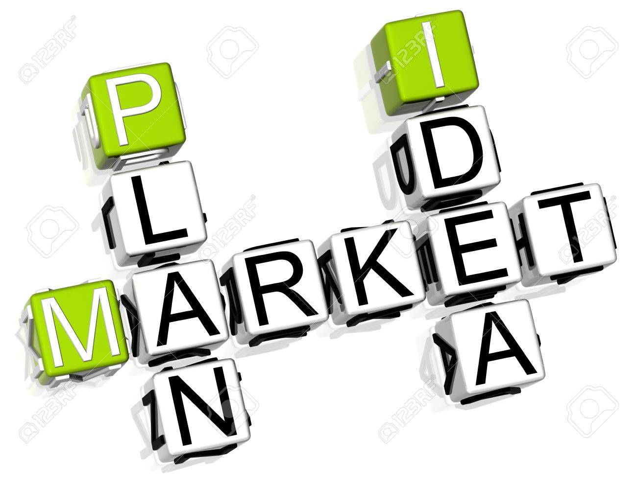 3D Market Plan Idea Crossword on white background Stock Photo - 8901648