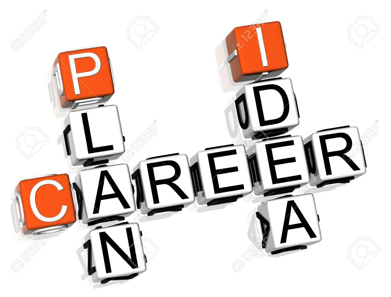 3D Career Plan Idea Crossword  on white background Stock Photo - 8901640