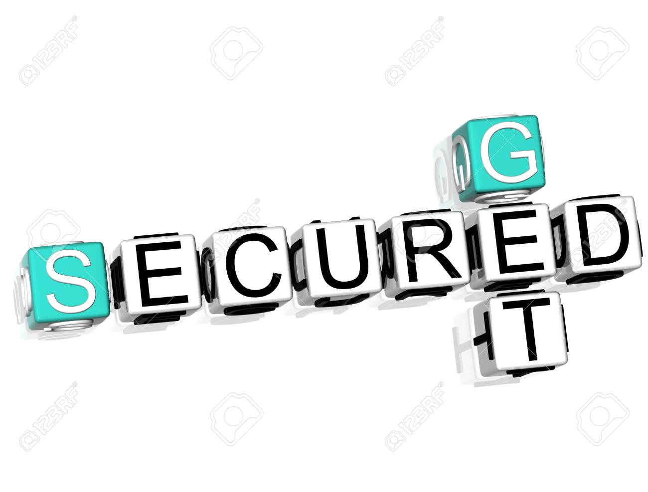 3D Get Secured Crossword on white background Stock Photo - 8901721