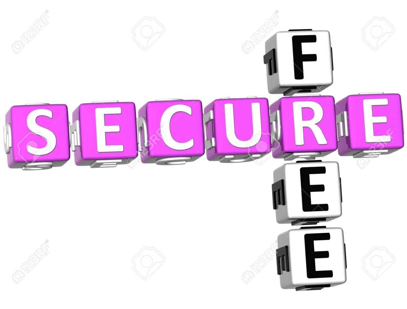 3D Free Secure Crossword on white background Stock Photo - 8973408